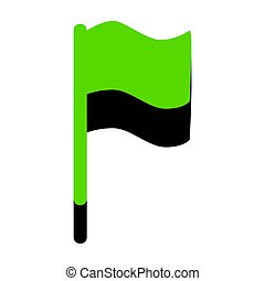 Flag sign illustration. Vector. Green 3d icon with black side on