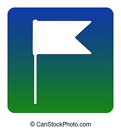 Flag sign illustration. Vector. White icon at green-blue gradient square with rounded corners on white background. Isolated.