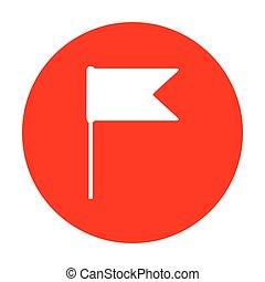 Flag sign illustration. White icon on red circle.
