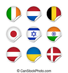 Flag stickers set 2 - Set of various flag stickers