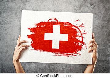 flag., suisse, tenue, suisse, bannière, homme