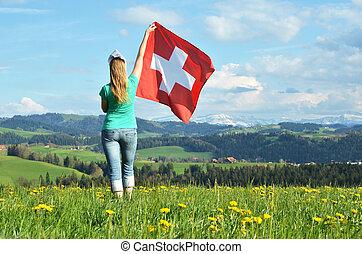 flag., suizo, tenencia, suiza, niña, emmental