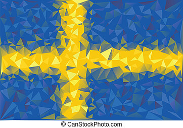 Flag Sweden. Swedish grunge mosaic geometric pattern banner...