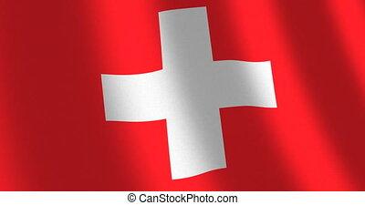 Flag Switzerland moving wind