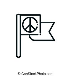flag symbol peace and human rights line