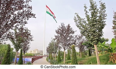 Flag Tajikistan flag in the park. Dushanbe, Tajikistan