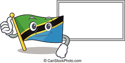 Flag tanzania cute cartoon character Thumbs up with board