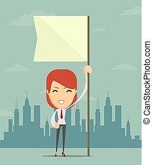 flag., texte, endroit, tenue, femme affaires, blanc