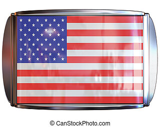 Flag to USA - 3d scene icon with flag of the USA