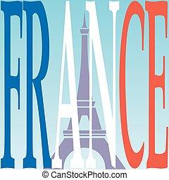 flag., torre, eiffel, francés