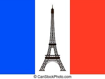 flag., torre, eiffel, plano de fondo, francia