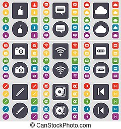 Flag tower, Chat bubble, Cloud, Camera, Wi-Fi, Cassette, Pencil, Gramophone, Media skip icon symbol. A large set of flat, colored buttons for your design. Vector