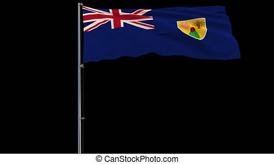 Flag Turks and Caicos on transparent background, 4k prores...