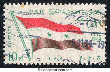flag UAR - EGYPT - CIRCA 1964: stamp printed by Egypt, shows...