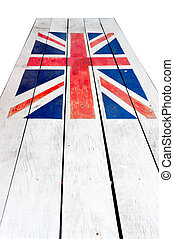Flag UK with wood plate