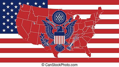 Flag United States of America flag vector, great seal of the USA