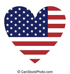 flag united states with heart shape