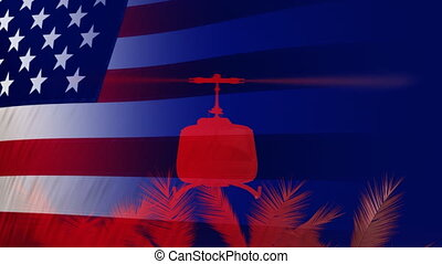 Abstract render of flag USA and silhouette soldiers army disembarking from a UH-1.
