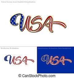 flag usa., caligraphic, tekst