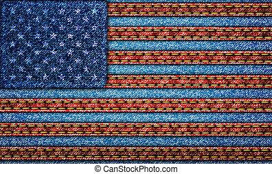Flag usa. Denim background. eps10