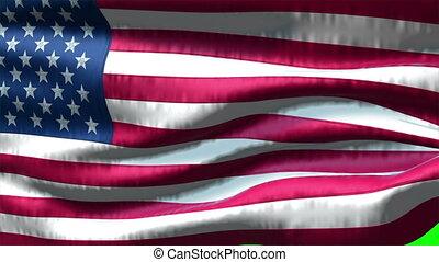 Flag USA on green