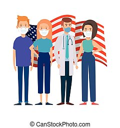 flag usa with people using face mask