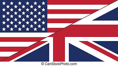 Flag US/UK - Flag for English language (United States of...