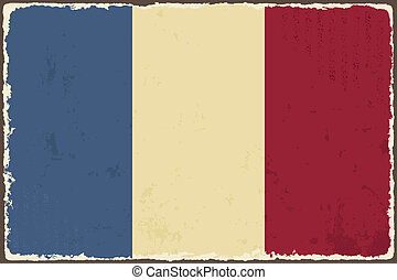 flag., vecteur, grunge, francais, illustration