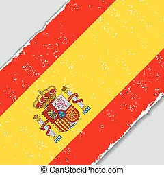 flag., vecteur, grunge, illustration., espagnol