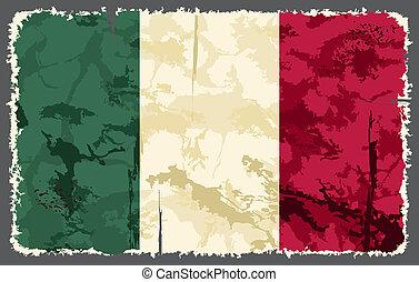 flag., vecteur, grunge, illustration, italien
