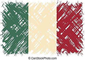 flag., vecteur, grunge, illustration., italien