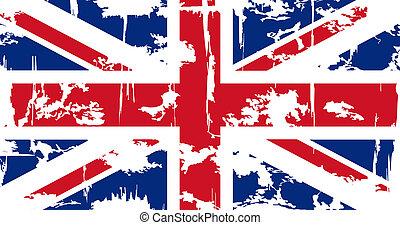 flag., vector, grunge, británico, ilustración