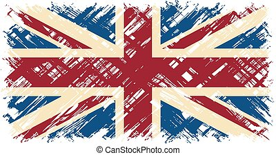 flag., vector, grunge, illustration., británico