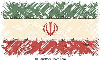 flag., vector, grunge, illustration., iraní