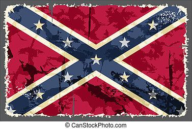 flag., vector, grunge, ilustración, confederado