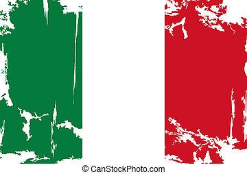 flag., vector, grunge, ilustración, italiano