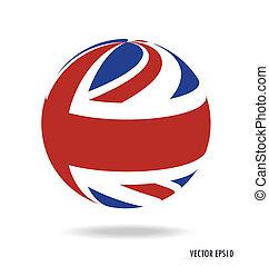 flag., vector, illustration., británico