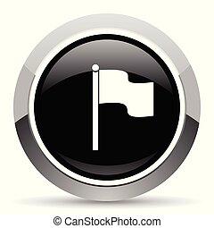 Flag vector steel icon. Chrome border round web button....