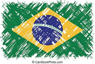 flag., vektor, grunge, illustration., brasilianisch