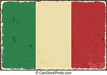 flag., vetorial, grunge, ilustração, italiano