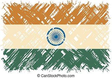 flag., vettore, grunge, indiano, illustration.