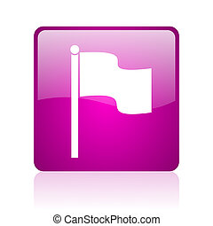 flag violet square web glossy icon