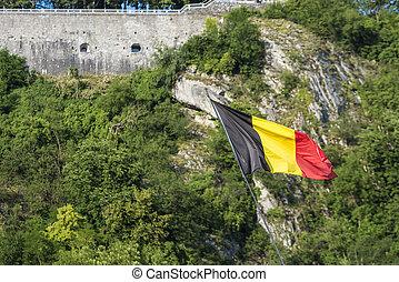 Flag waving in Dinant, Belgium