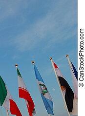Flag waving on a sky