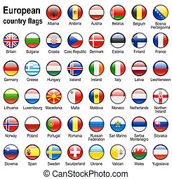 flag web buttons - shiny web buttons with european contry...