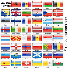 flag web buttons - shiny web buttons with european country...