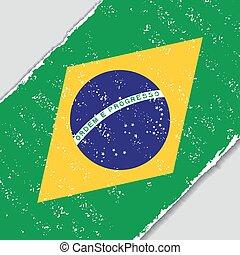 flag., wektor, grunge, illustration., brazylijczyk