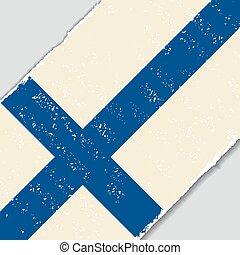 flag., wektor, grunge, illustration., fiński