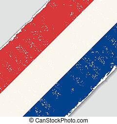 flag., wektor, grunge, illustration., holenderski