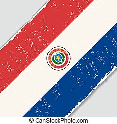 flag., wektor, grunge, illustration., paraguayan